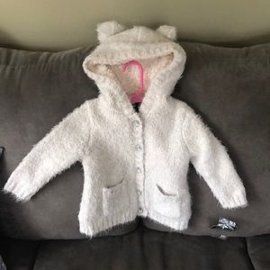 12 Month silver and white cozy button up sweater